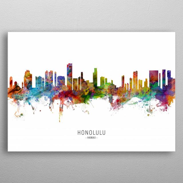 Watercolor art print of the skyline of Honolulu, Hawaii, United States metal poster