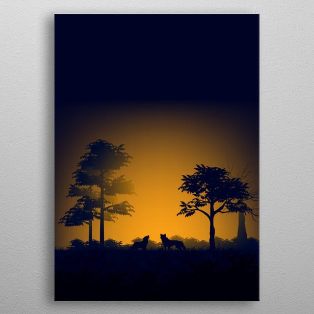 Beautiful Night Nature View  metal poster