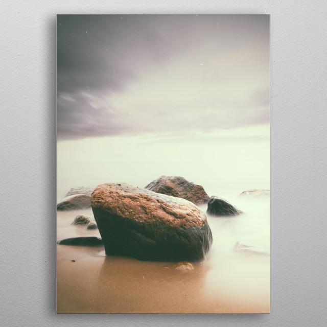 Long exposure seascape shot taken in Gdynia, Poland. metal poster