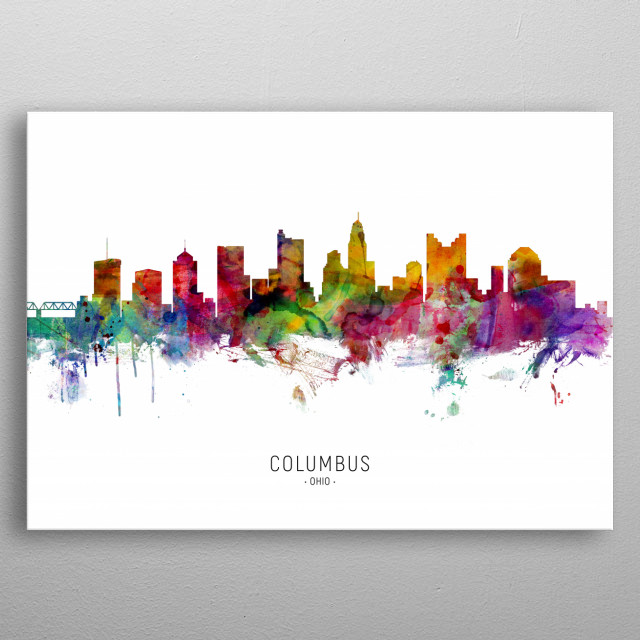 Watercolor art print of the skyline of Columbus, Ohio, United States metal poster