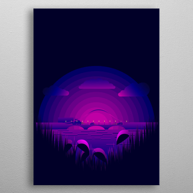 Beautiful Night Nature View  metal poster