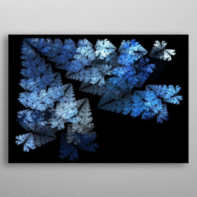 Abstract snowflakes falling from the night sky. metal poster