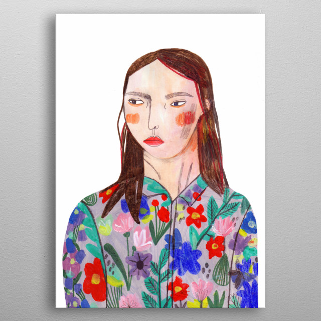 girl in floral shirt metal poster