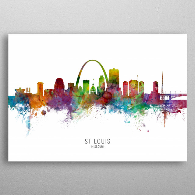 Watercolor art print of the skyline of St Louis, Missouri, United States metal poster