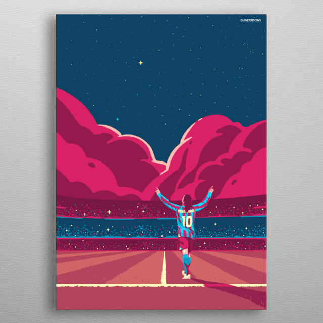 Artwork of one of the greatest footballers of all time, the Brazilian wizard. metal poster