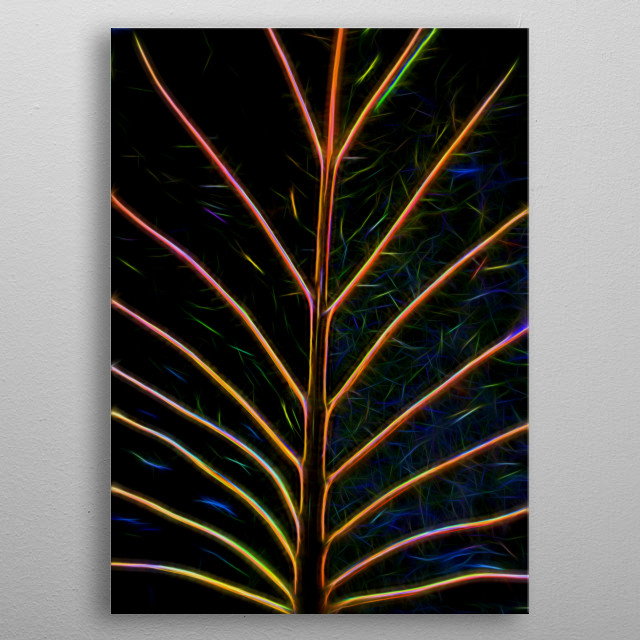 abstract leaf  metal poster