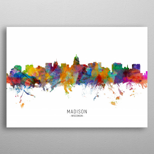 Watercolor art print of the skyline of Madison, Wisconsin, United States metal poster