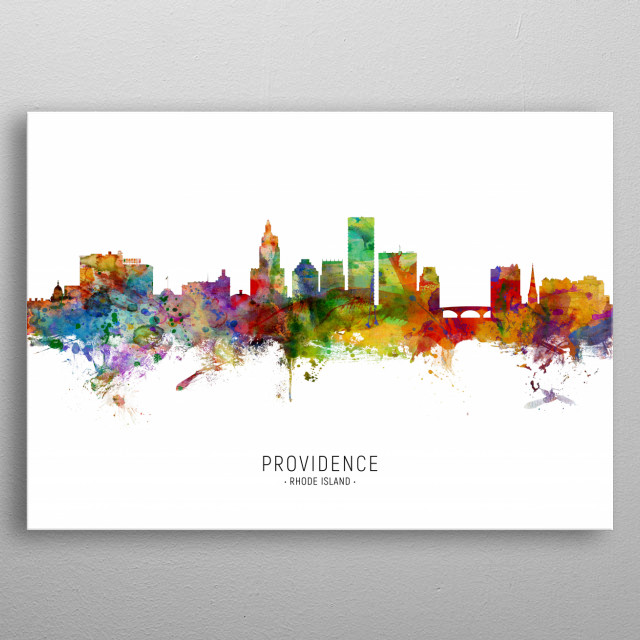 Watercolor art print of the skyline of Providence, Rhode Island, United States metal poster