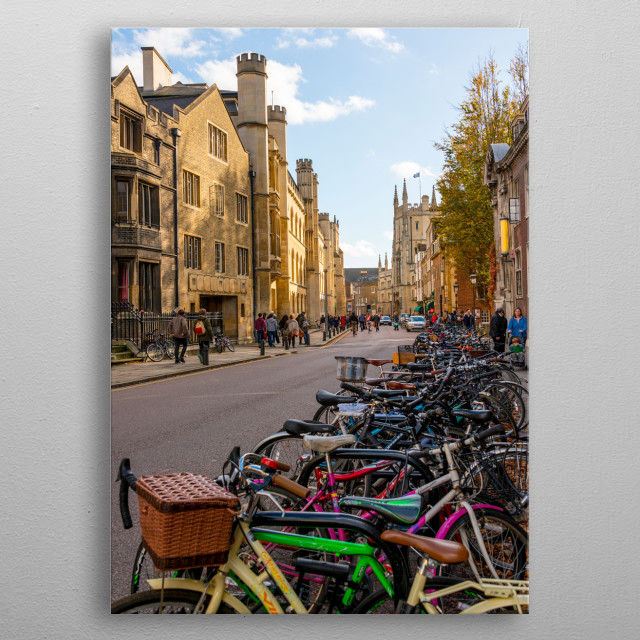 Cambridge is a city on the River Cam in eastern England, home to the prestigious University of Cambridge, dating to 1209. metal poster