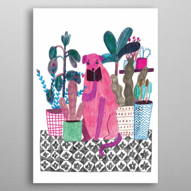pink dog metal poster