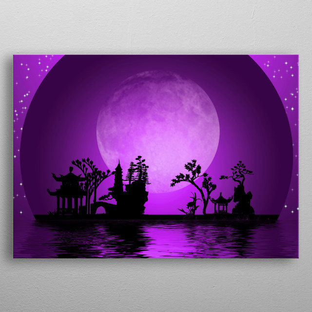 Asian Landscape. Night Silhouettes and Full Moon metal poster