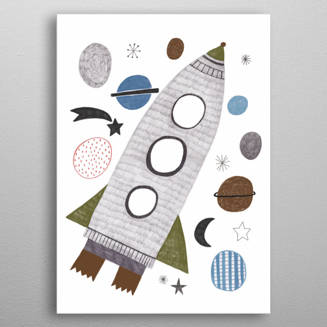rocket in space metal poster