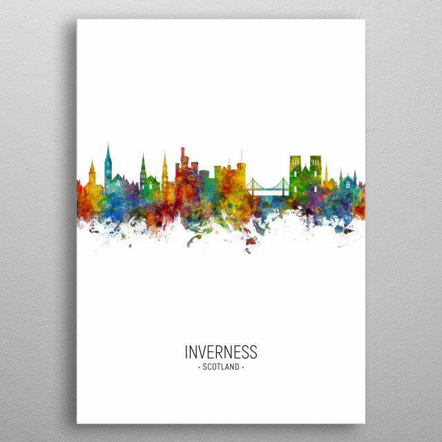 Watercolor art print of the skyline of Inverness, Scotland, United Kingdom metal poster