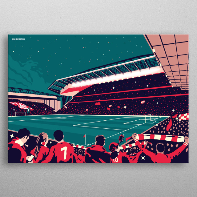 Illustration on the famous Anfield stadium of Liverpool Football Club. metal poster