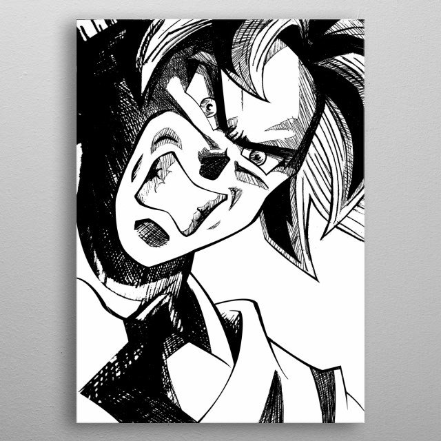 art inspired by goku with the technique Migatte no Gokui is a technique of the gods difficult to master metal poster