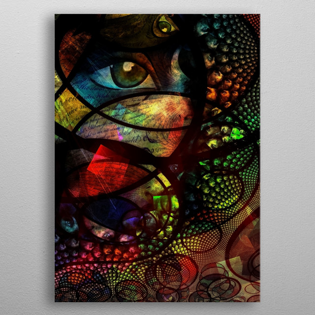 Colorful human eye abstract. Fractal of swirling lines metal poster