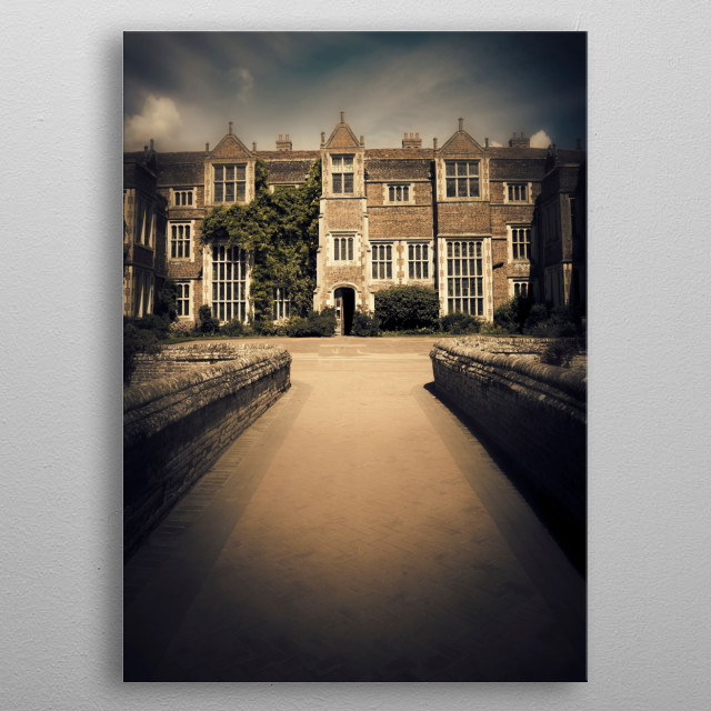 Kentwell Hall is a stately home in Long Melford, Suffolk, England. metal poster