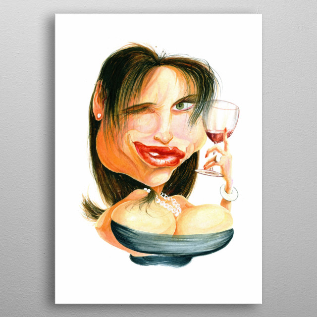 Humorous watercolour illustration of a buxom woman tasting a glass of red wine metal poster