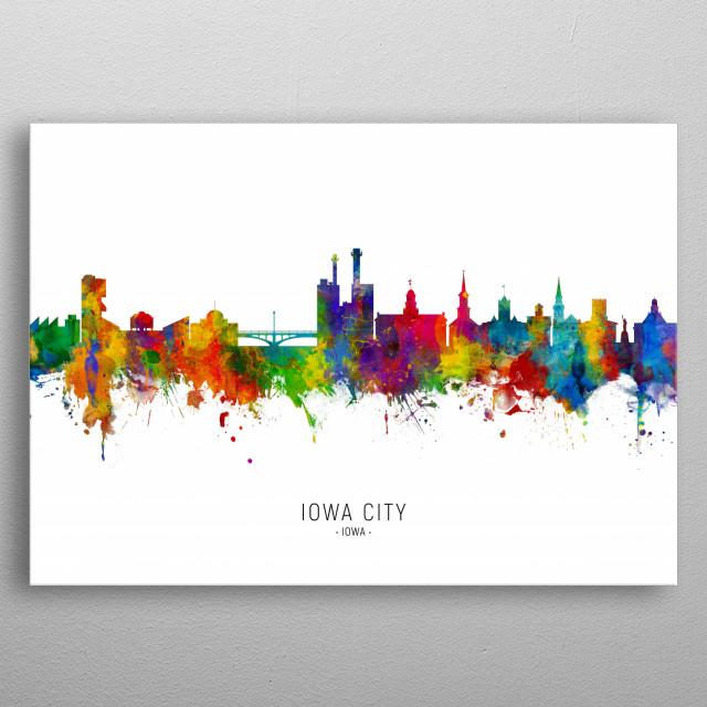 Watercolor art print of the skyline of Iowa City, Iowa, United States metal poster