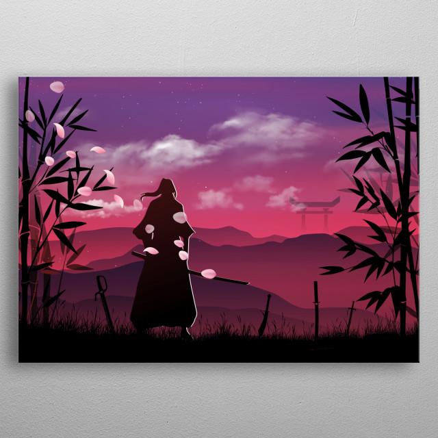 inspired by japan era of samurai battles and culture  metal poster