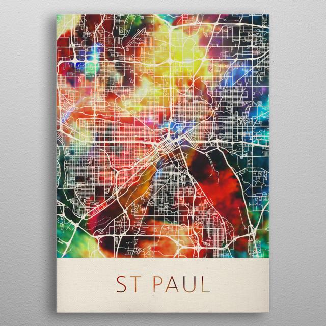 St Paul Minnesota Watercolor City Street Map metal poster