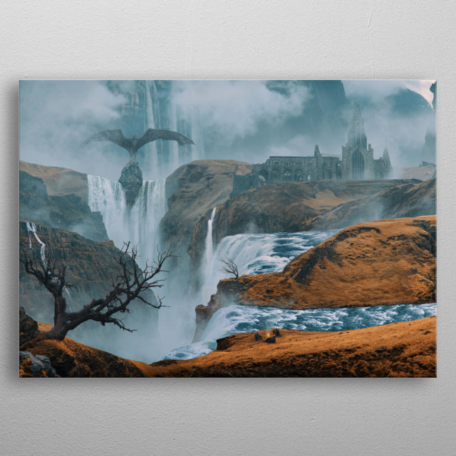 Iceland and Game of Thrones inspired landscape of waterfalls, high mountains and medieval buildings. metal poster