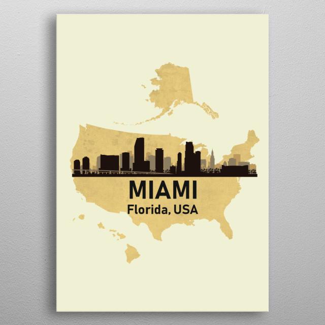 Miami Florida USA metal poster