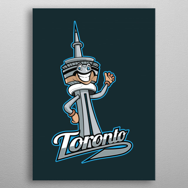 This fun and colourful digitally drawn Toronto landmark depicts the infamous CN Tower. Grab this and other city badges! metal poster