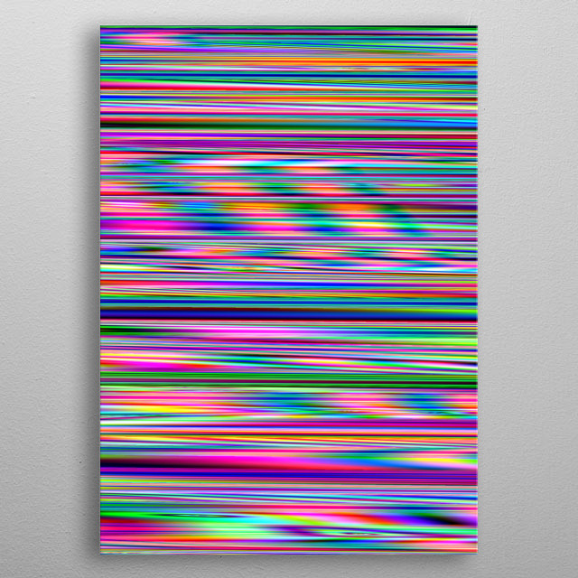 Digital artwork create from my flower photographs, I have manipulated it to get this rainbow of stripes. metal poster