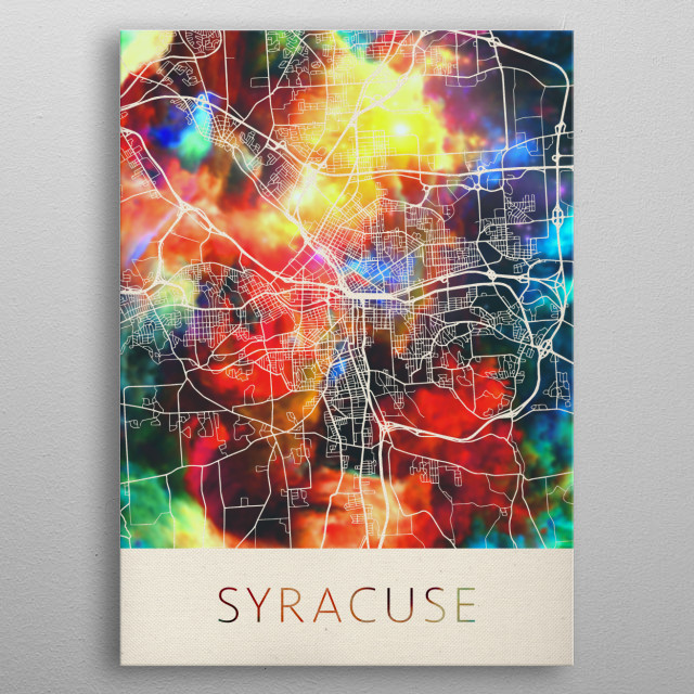 Syracuse New York Watercolor City Street Map metal poster