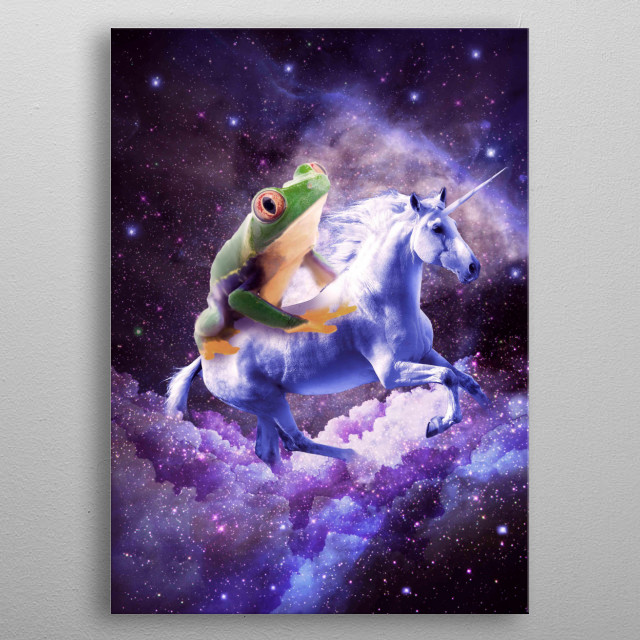 Pick up this funny red eye tree frog riding unicorn design. This universe frog on unicorn design makes a perfect gift so pick one up today.  metal poster