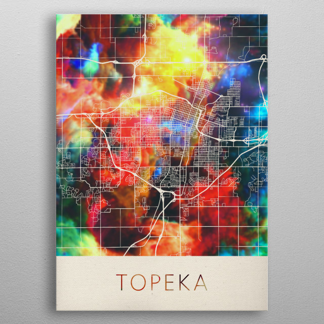Topeka Kansas Watercolor City Street Map metal poster