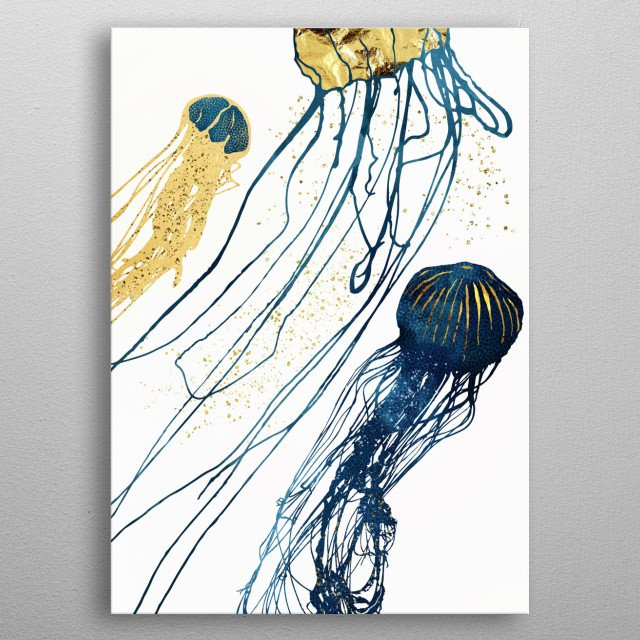 Abstract depiction of jellyfish with copper, gold and blue metal poster