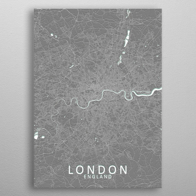 A grey city map of London with a subtle 3D effect metal poster
