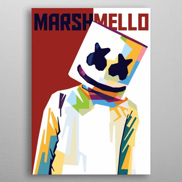 Colorful Illustration of DJ Marshmello metal poster
