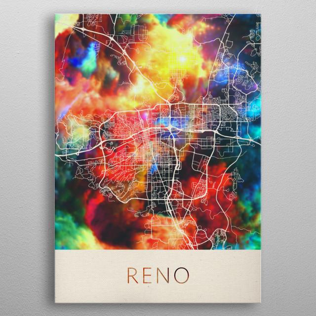 Reno Nevada Watercolor City Street Map metal poster