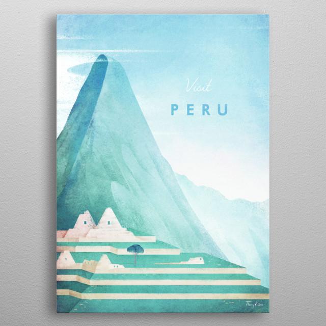 Minimal travel poster of Machu Picchu, Peru by artist Henry Rivers. metal poster