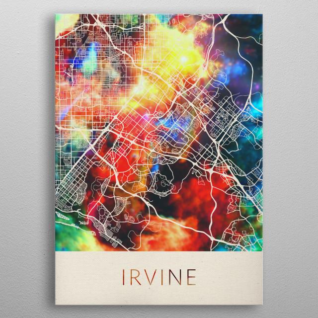 Irvine California Watercolor City Street Map metal poster