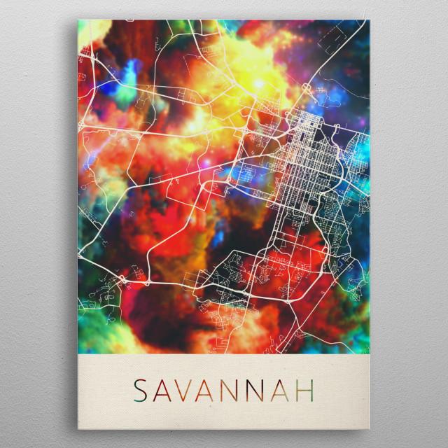 Savannah Georgia Watercolor City Street Map metal poster