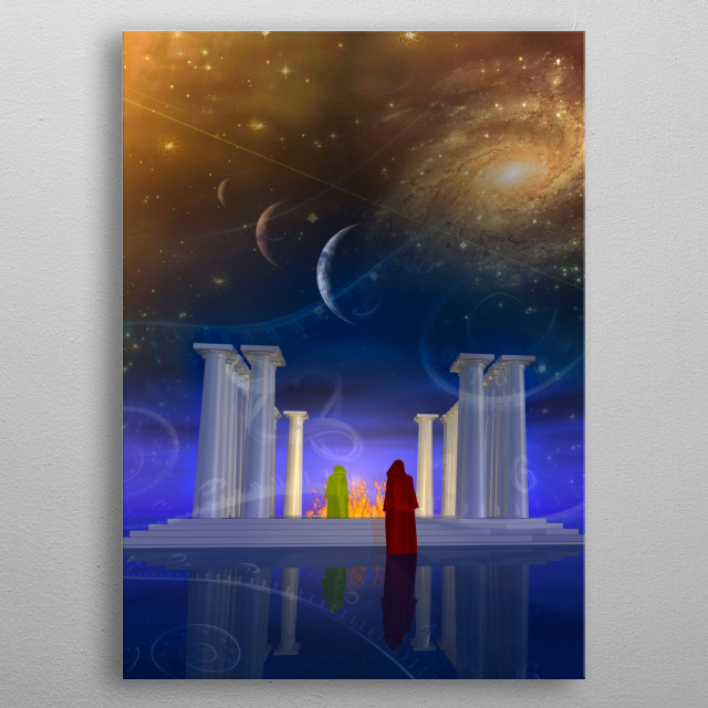 Ancient temple and its mysterious priests metal poster