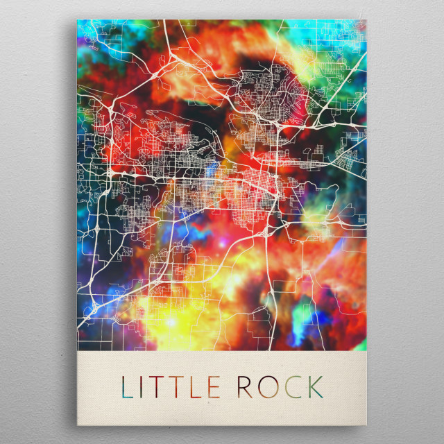 Little Rock Arkansas Watercolor City Street Map metal poster