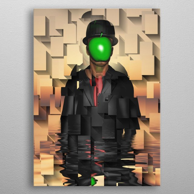 Man in dark suit. Abstract geometric background metal poster