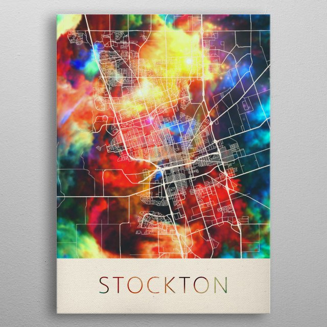 Stockton California Watercolor City Street Map metal poster