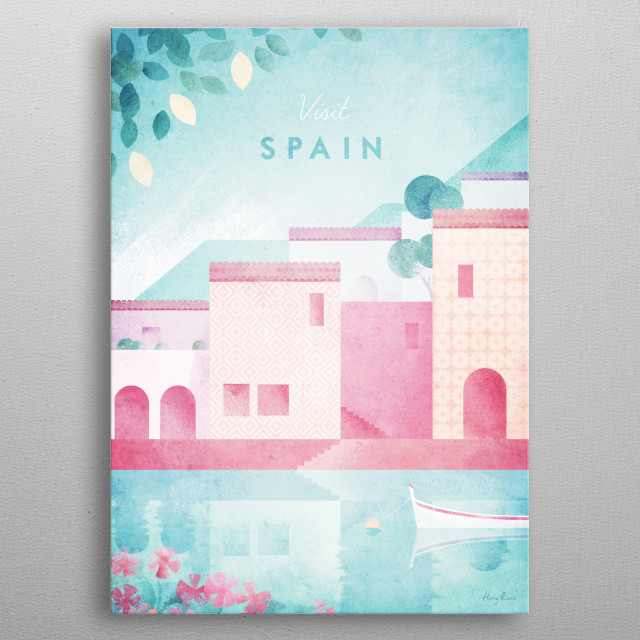 Minimal travel poster of a Spanish fishing village on the Mediterranean coastline by artist Henry Rivers. metal poster
