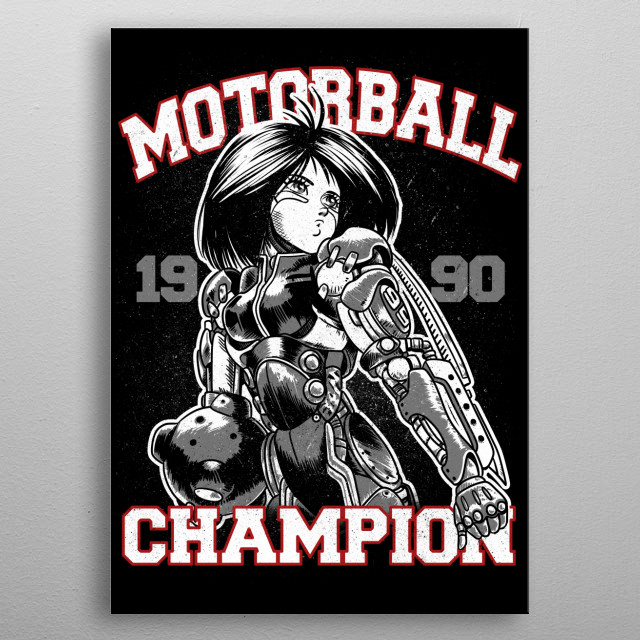 Alita as motorball player metal poster