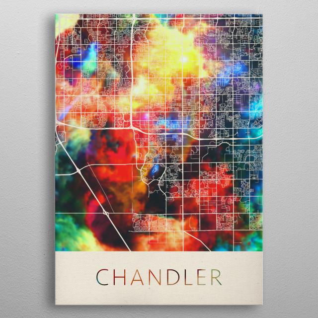 Chandler Arizona Watercolor City Street Map metal poster