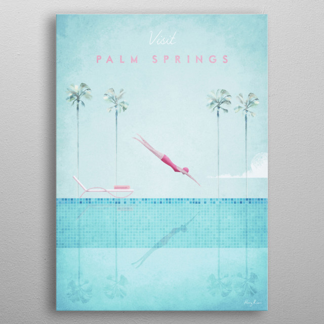 Art Deco, minimal style travel poster of a girl diving into a swimming pool in a Palm Springs resort by artist Henry Rivers. metal poster