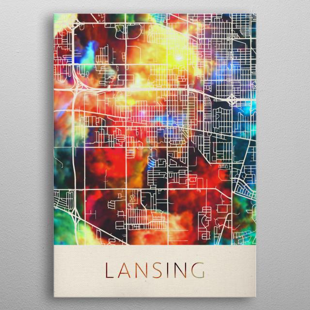Lansing Michigan Watercolor City Street Map metal poster