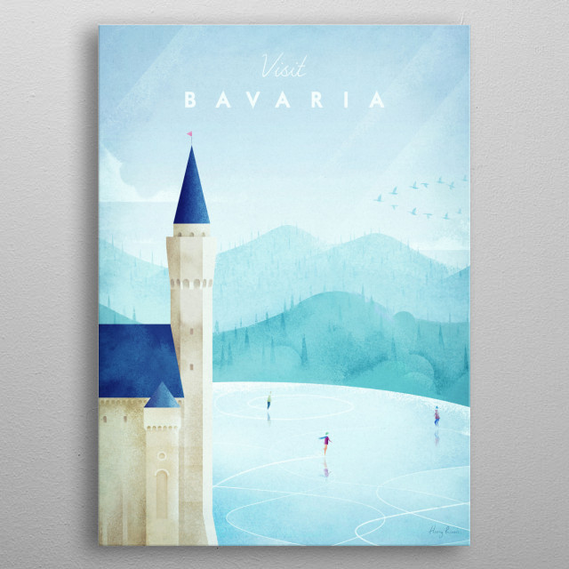 Minimal travel poster of the Neuschwanstein Castle in Bavaria, Germany by artist Henry Rivers . metal poster