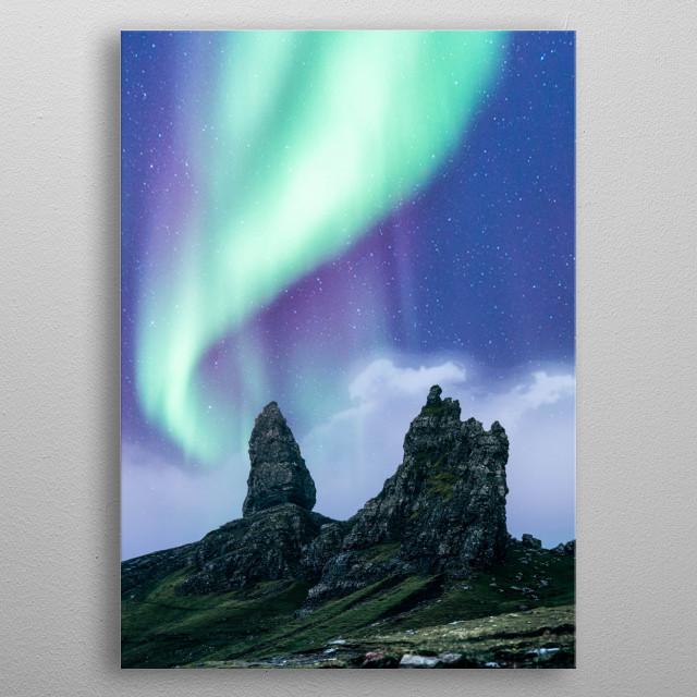 Green aurora over the peak metal poster